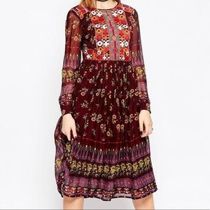 ASOS floral embroidered dress sz 12 below the knee